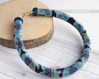 "Bead crochet necklace ""Blossoming"" floral necklace bead crochet rope blue necklace"
