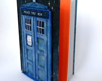 Tardis police box Doctor Who inspired journal -polymer clay journal- polymer clay notebook