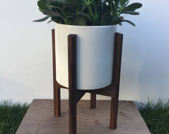 mid century modern planter plant stand with 10 ceramic. Black Bedroom Furniture Sets. Home Design Ideas