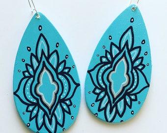 Hand Painted Boho Style Teardrop Earrings - Mandala Geometric Wood and Silver