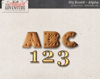 Cookie Alphabet, Gold Numbers, Instant Download, Digital Scrapbooking Elements, Zwarte Piet, Sinterklaas, Dutch Holiday, December Days