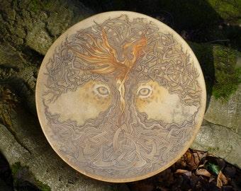 Handmade shamanic drum with Custom Artwork (*EXAMPLE*)