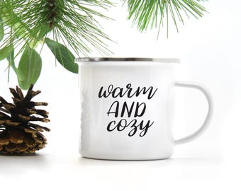 Warm and Cozy Camp Mug, Christmas Mug, Winter Mug, Holiday Camp Mug, Metal Enamel Mug, Warm and Cozy, Farmhouse Mug