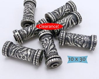 Long Sterling Silver Hand Crafted Drum Bead--1 Pc--40% OFF | 35-PK310-1
