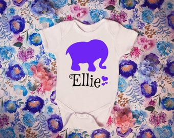 Personalized Purple Girls Elephant Name Newborn Baby Toddler Bodysuit Shirt Top Baby Shower Birthday Gift Idea Cute Character Tee Nursery
