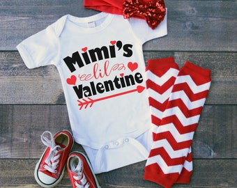 Mimi's Lil Valentine Funny  Bodysuit or T-Shirt for Baby Toddler Kid Newborn Babies Shower Coming Home Gift Idea Creeper Present Cute Day