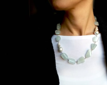 Aquamarine necklace. Aquamarine and white freshwater pearls. Gemstones necklace. Rosary aquamarine necklace. Gifts for her. Free shipping