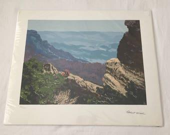 Robert Wood CLIFFSIDE LANDSCAPE Signed Serigraph Print 20 x 24  402/1000