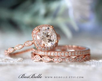 2.87 ct.tw Milgrain Bridal Set-Art Deco Halo Engagement Ring W/ Mixed Eternity Wedding Ring-Rose Gold Plated-Sterling Silver [65360RG-3B]