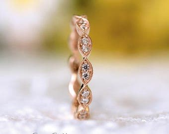 2.5mm Wide Art Deco Full Eternity Ring-Brilliant Cut Pave Diamond Simulants-Stackable Ring-Rose Gold Plated-Solid Sterling Silver[2954RGE]