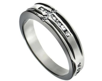 "CZ Cross Ring ""Woman Of God"""