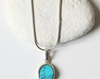 Oval blue turquoise pendant necklace in sterling silver bezel setting  Sterling Silver Snake Chain - Turquoise Howlie  - FREE SHIPPING - F13