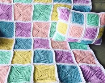 Crochet baby blanket throw & pillow pink blue green lilac handmade newborn baby blanket pram cot bassinet baby bedding gift Etsy Australia