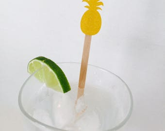 15 Pineapple Drink Stir Sticks - Party Like a Pineapple - Aloha Beaches Bachelorette Party - Bridal Shower - Baby Shower - Swizzle Sticks