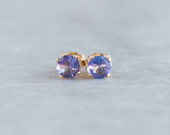 Tanzanite Ear Studs in Gold or Silver, December Birthstone, 4mm Small Studs, Periwinkle Blue Tanzanite Jewelry, Stud Earrings, Gift for Her