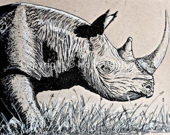 Black Rhino Giclée Print (Size A3)