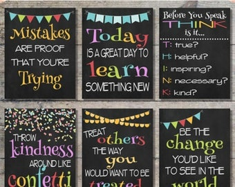 "60% OFF SALE - Classroom Chalkboard Prints Package, Classroom Printable Decor, Inspirational Prints, Instant Download - Set of 6 {8""x10""}"