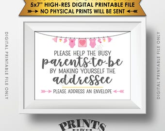 "Baby Shower Address an Envelope Sign, Help the Parents-to-Be Address an Envelope, Baby Shower Decoration, 5x7"" Printable Instant Download"