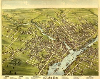 Bangor Maine Panoramic Map. This is an illustrated map of Bangor Maine in 1875. These prints come in 11X14, 11X17, 12X18 inches.