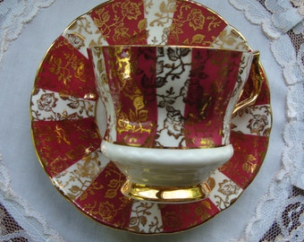 Royal Windsor Fine Bone China England - Vintage Tea Cup and Saucer - Gold Chintz on Red and White Panels with Gold Handle Foot and Trim