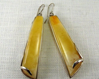 """Long Baltic Amber Butterscotch Earrings 2.6"""" Natural Baltic Amber Yellow Slabs 925 Sterling silver 14,1 gram"""