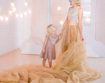 Mother Daughter matching Dress, Silver gold dress, Mommy and me outfits,  Mother daughter dress, Photo shoot, Photo session maxi dress