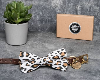 Dog Bowtie - Collar accessories - Handmade animal print bow tie - idea gift for dogs and puppies - Leopard print