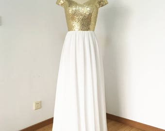 Off Shoulder Light Gold Sequin Ivory Chiffon Long Bridesmaid Dress