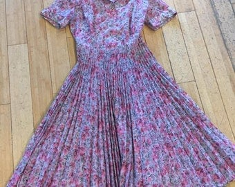 """Medium 1950s Floral Sheer """"Betty Hartford"""" Dress With Gorgeous Rhinestone Buttons and Accordion Pleated Skirt"""