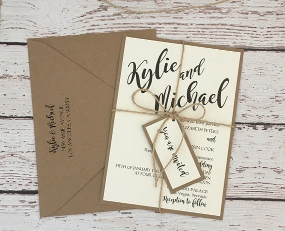 Gifts Using Wedding Invitation: Rustic Wedding Invitation Simple Rustic Invitation Wedding