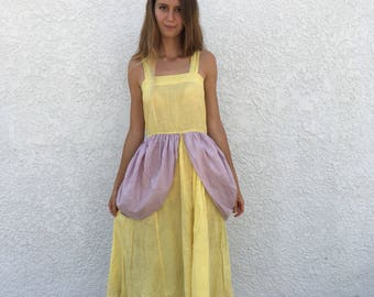 1930s Yellow and Violet Cotton Dress