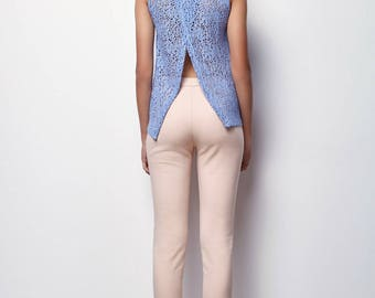 LIGHT BLUE Tank Top,Open back, Summer Tank Top,Embroidered cloth vest with holes - - Mari SIZE : S,M