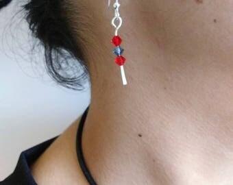 Boucles d'oreille minimaliste - argent sterling forgé & perles Swarowski