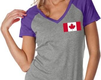 Ladies Canadian Flag Pocket Print Contrast V-Neck Shirt 21438E9-PP-WJP0567