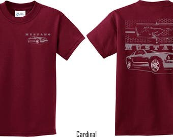 Kid's Ford Mustang with Grill Front & Back Print Tee T-Shirt 21284EV1-FB-PC61Y