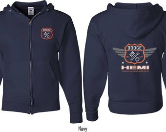 Men's Dodge Garage Hemi Front & Back Print Full Zip Hoody 20415E4-FB-993