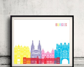 Burgos skyline pop - Fine Art Print Glicee Poster Gift Illustration Pop Art Colorful Landmarks - SKU 2399