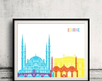 Edirne skyline pop - Fine Art Print Glicee Poster Gift Illustration Pop Art Colorful Landmarks - SKU 2457