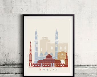 Muscat skyline poster - Fine Art Print Landmarks skyline Poster Gift Illustration Artistic Colorful Landmarks - SKU 2512