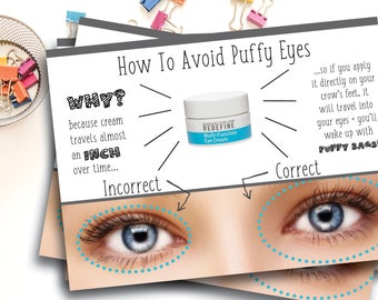 Rodan and Fields Eye Cream Instruction Cards / How To Avoid Puffy Eyes / Postcard Size / PRINTED CARDS ONLY One Sided / Includes Envelopes