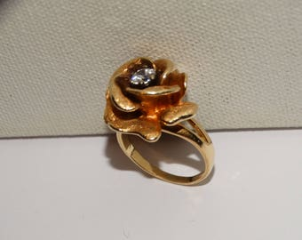 1970's 14k Yellow Gold Stamped CZ Stone Textured Rose Ring