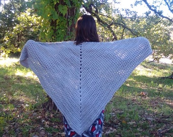Wool Shawl Wrap Cowl Prayer Shawl Vintage Inspired Gray Handmade Crochet Triangle Shawl Ready to Ship Family Heirloom Cottage Chic Retro