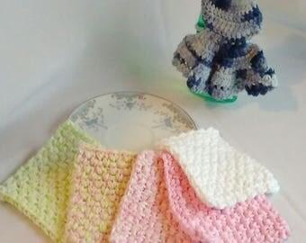Crochet Washcloth, Dishcloth Cotton Washable Eco-friendly Glitz 5-pack Cloths House Warming Gift Set Bridal Shower Wedding Gift RTS