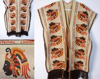 1970s Poncho Sweater // Vintage 70s Boho,  Aztec Tribal Cape, Poncho, One Size Fits Most