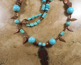 Copper feather pendant with magnesite turquoise beads and copper spacers - MN69