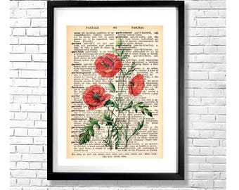 P FOR POPPIES - Red Poppy Flowers Vintage Botanical Watercolor Illustration on an Old Dictionary Page Background Art Print Poster