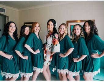 Forest green Bridesmaid Robes - Bridesmaid gift - Getting Ready Robe -  Bridal Party Robes - Bridal Gift, Lace Robe