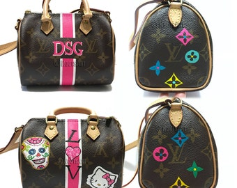 Custom hand painted Mini Louis Vuitton...Customer provided the bag