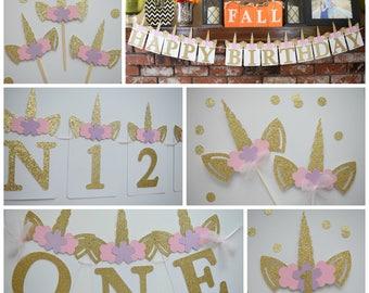 Unicorn Birthday Decor, Unicorn Birthday Party Pack, Pink and Gold Glitter Birthday Decor, 1st Birthday Decor, Birthday Decor, Unicorn Theme