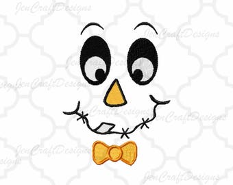 Scarecrow Face #2 Embroidery design,bow tie, Male scarcrow Fall Instant Download digital file in DST, EXP, HUS, Jef, Pes, Vip and Xxx